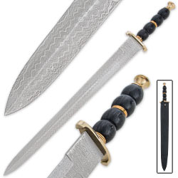 Eternal Warrior Damascus Sword - Double Edged Blade