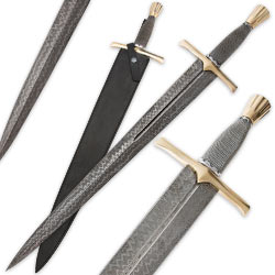 29 In. Damascus Steel Renaissance Sword w/ Wire Wrap Handle