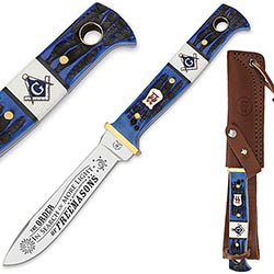 Masonic Fixed Blade Hunting Knife w/ Leather Sheath