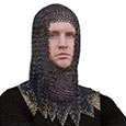 Medieval Steel - Chainmail Armor Head Piece - Black