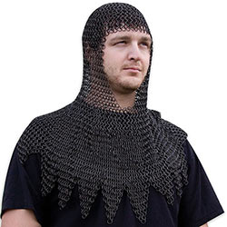 Medieval Steel Chainmail Coif Head Piece Armor