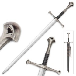 "Middle Ages Warrior Short Broad Sword With Black Sheath – Double-Edged Sharp Blade – 22 1/2"" Length"