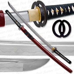 Musashi - 1060 Carbon Steel - Best Miyamoto Sword - Red Saya