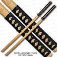 2 Natural Bokken Swords w/ Handle Wrap - Wooden Training Daitos
