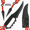 Ninja Fighter All Metal Full Tang w/ Guard & Kunai Knives