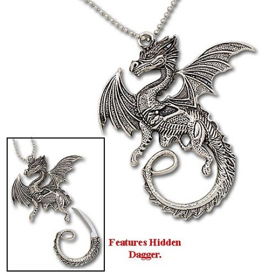 Dragon Pendants on Dragon Stance Necklace W  Hidden Dagger
