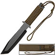 Olive Drab Full Tang Tanto Knife w/ Sheath