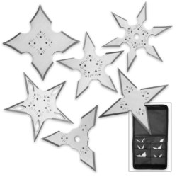 Silver Ninja Throwing Star Set – Six-Pack