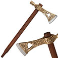 Ornate Pipe Axe Replica w/ Cast Metal Head & Steel Blade