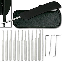 15 Piece Lock Picking Set w/ Case & Handle