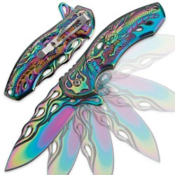 Soaring Dragon Flame Assisted Opening Pocket Knife Iridescent Rainbow Titanium