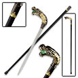 Dragon Head Sword Cane Stainless Steel w/ Green Marble