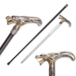 Silver And Gold Roaring Dragon Sword Cane