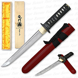 Ryumon - Folded 1065 Dragon Tsuba Tanto - Crimson Saya