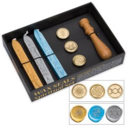 Lo Scarabeo Spiritual Sealing Wax Kit - Blue/Silver/Gold Wax, Wooden Stamp, 3 Brass Imprints
