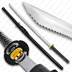 Serrated Katana Samurai Sword w/ Leather Wrapped Handle