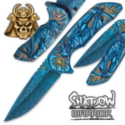 Shadow Warrior Assisted Opening Pocket Knife | DamascTech Steel Blade | Blue And Rainbow