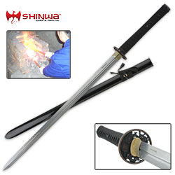 Shinwa Double Edged Katana Sword, Dragon Lord Damascus