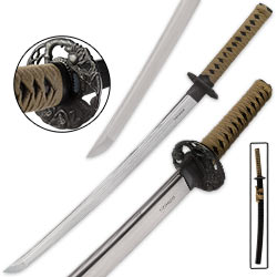 Shinwa Regal Tan Wakizashi / Samurai Sword - Hand Forged Damascus Steel - Coordinating Saya
