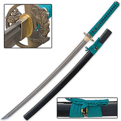 Shinwa Damascus Katana Sword Teal Cord Wrap – 2000 Layers