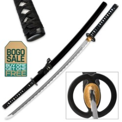 Shinwa Royal Emperor Handmade Katana / Samurai Sword - Hand Forged Damascus Steel, Hamon - Razor Sharp, Full Tang - Battle Ready, Fully Functional, Ninja Tough - Genuine Ray Skin, Custom Tsuba - BOGO