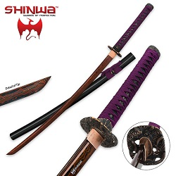 Shinwa Regal Purple Damascus Steel Katana Sword