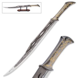 """Silver Thistleclaw of Vairewood"" - Fantasy Sword with Wooden Display Stand"