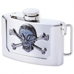 Belt Buckle Flask - Stainless Steel - 3 oz. - Skull & Crossbones