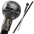 Sword Cane - Preserved Skull Orb w/ Black Shaft