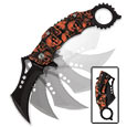 Skulltastic Karambit Style Assisted Opening  Pocket Knife - Orange