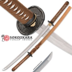 Sokojikara Bambusa Handmade Katana / Samurai Sword - Hand Forged, Clay Tempered T10 High Carbon Steel - Genuine Ray Skin; Iron Tsuba - Functional, Full Tang, Battle Ready
