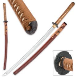 Sokojikara Kitsune Handmade Katana / Samurai Sword - Hand Forged, Clay Tempered T10 High Carbon Steel - Genuine Ray Skin; Iron Tsuba - Traditional Japanese Style - Functional, Full Tang, Battle Ready