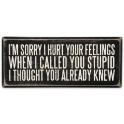 """Sorry I Hurt Your Feelings"" 6"" x 2 1/2"" Rustic Wooden Box Sign"