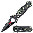 Spring Assist - 'Legal Automatic' Knife - Dragon Dagger - Green