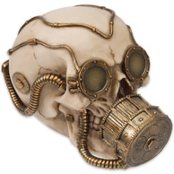 Steampunk Gas Mask Skull Sculpture - Volataire M. Chemskul, Warden of the Vaporworks