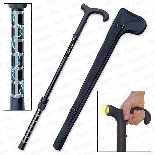 Stun Gun Armed Walking Cane W Flashlight True Swords