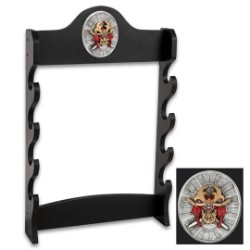 "Sword Stand With Medallion – Displays 4 Swords – Sturdy Wooden Construction; Attractive Black Lacquered Finish; Decorative Medallion – 7""x20"""