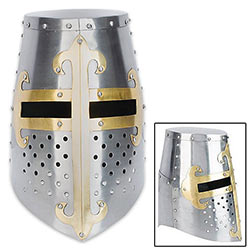 Templar Knight's Helmet w/ Brass Accents
