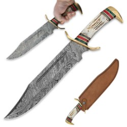 Damascus Steel & Genuine Stag Fixed Blade Bowie Knife w/ Leather Sheath
