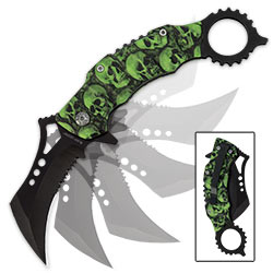 Toxic Skulls Karambit Style Assisted Opening Knife - Green
