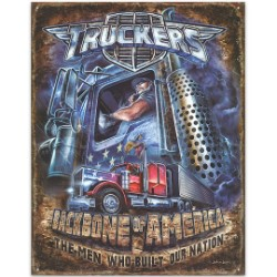 """Truckers – Backbone of America"" Airbrush-Style Art on Tin Sign"