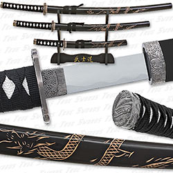 Engraved Flying Dragon Super Set - Black