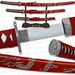 Engraved Flying Dragon Super Set - Red