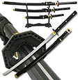Black & Gold Full Tang Samurai Set