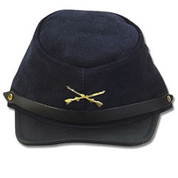 Civil War Kepi - Navy Blue Suede Hat w/ Rifles