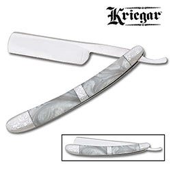 Straight Razor - Kriegar Custom Pearl Razor w/ Fantasy Scroll