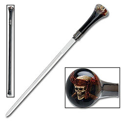 Sword Cane - Raging Pirate Skull