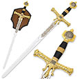 King Solomon Sword - Gold Medieval Broadsword w/ Plaque