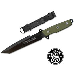 S&W Green Survival Knife with Black Blade