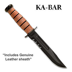 KABAR USMC Part Serrated w/ Leather Sheath